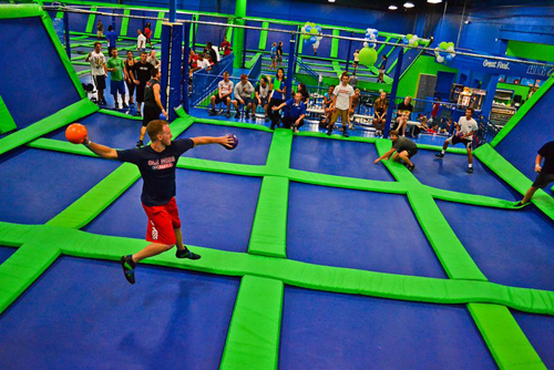 dodgeball play area in trampoline park